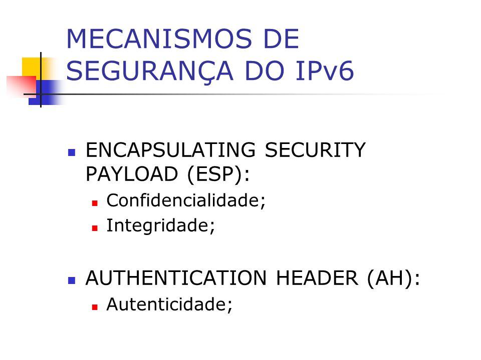 MECANISMOS DE SEGURANÇA DO IPv6 ENCAPSULATING SECURITY PAYLOAD (ESP): Confidencialidade; Integridade; AUTHENTICATION HEADER (AH): Autenticidade;