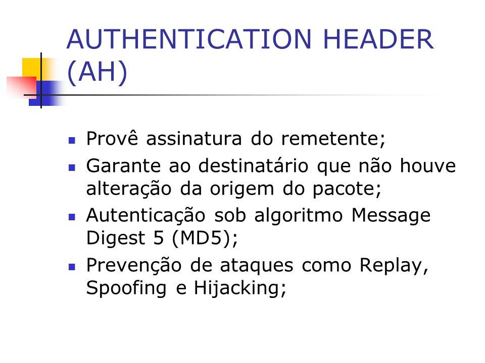 AUTHENTICATION HEADER (AH) Provê assinatura do remetente; Garante ao destinatário que não houve alteração da origem do pacote; Autenticação sob algori