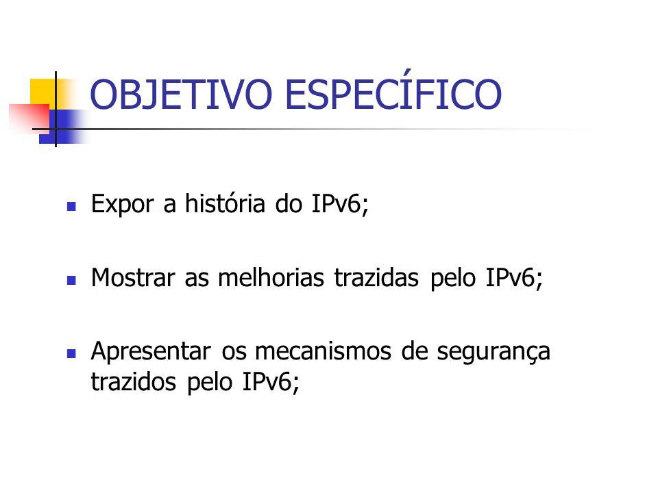 OBJETIVO ESPECÍFICO Expor a história do IPv6; Mostrar as melhorias trazidas pelo IPv6; Apresentar os mecanismos de segurança trazidos pelo IPv6;