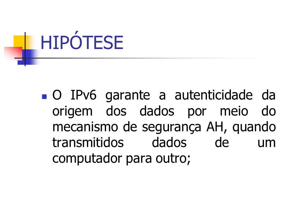 HIPÓTESE O IPv6 garante a autenticidade da origem dos dados por meio do mecanismo de segurança AH, quando transmitidos dados de um computador para out