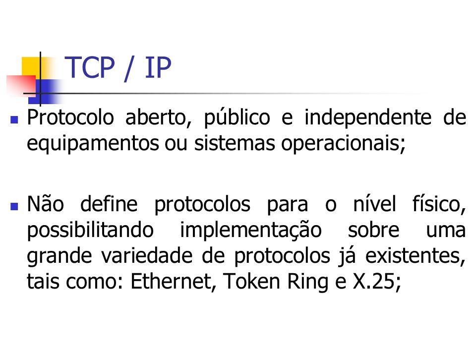 Protocolo aberto, público e independente de equipamentos ou sistemas operacionais; Não define protocolos para o nível físico, possibilitando implement
