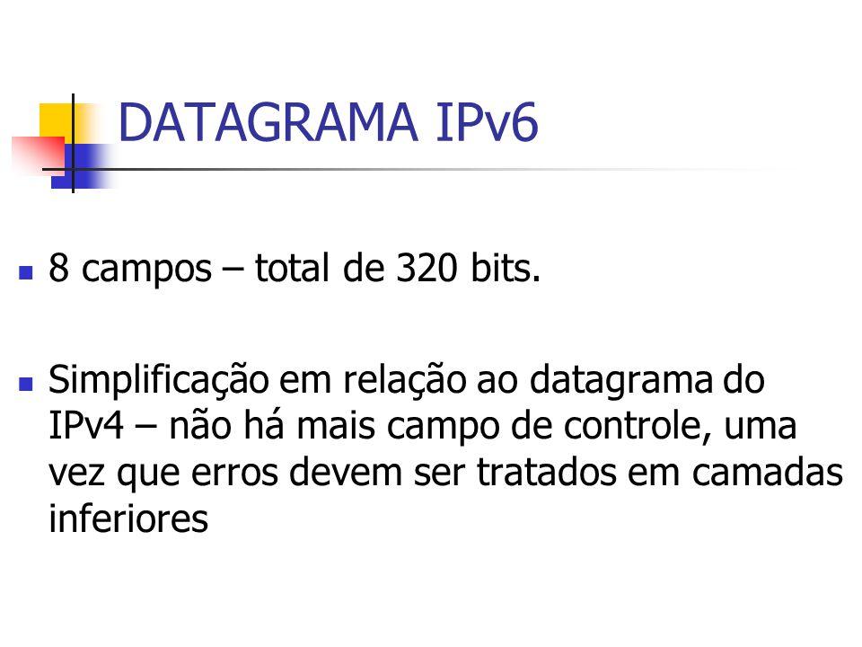 8 campos – total de 320 bits. Simplificação em relação ao datagrama do IPv4 – não há mais campo de controle, uma vez que erros devem ser tratados em c