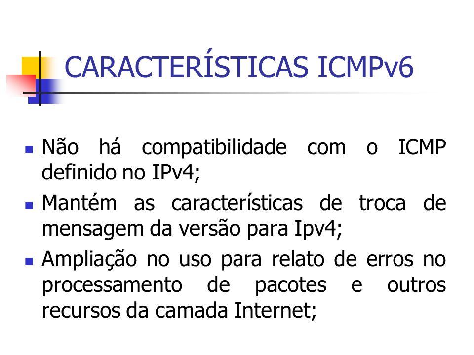 CARACTERÍSTICAS ICMPv6 Não há compatibilidade com o ICMP definido no IPv4; Mantém as características de troca de mensagem da versão para Ipv4; Ampliaç