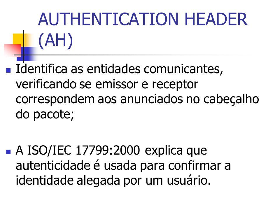 Identifica as entidades comunicantes, verificando se emissor e receptor correspondem aos anunciados no cabeçalho do pacote; A ISO/IEC 17799:2000 expli