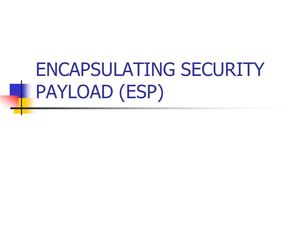 ENCAPSULATING SECURITY PAYLOAD (ESP)