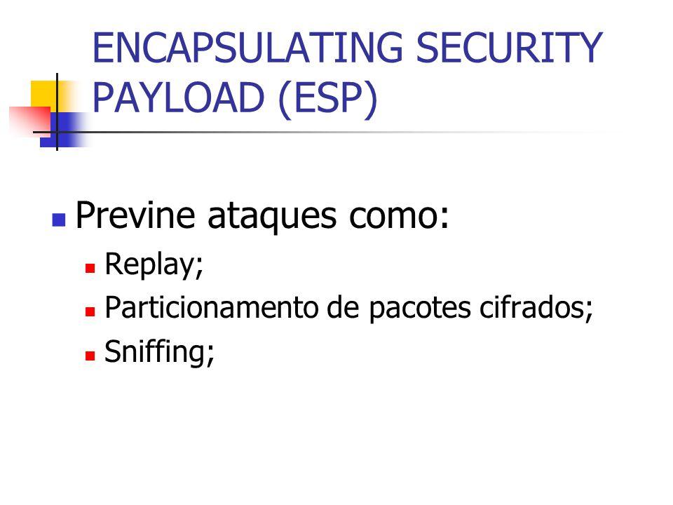 ENCAPSULATING SECURITY PAYLOAD (ESP) Previne ataques como: Replay; Particionamento de pacotes cifrados; Sniffing;