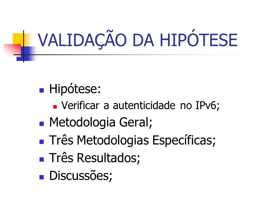 Hipótese: Verificar a autenticidade no IPv6; Metodologia Geral; Três Metodologias Específicas; Três Resultados; Discussões;