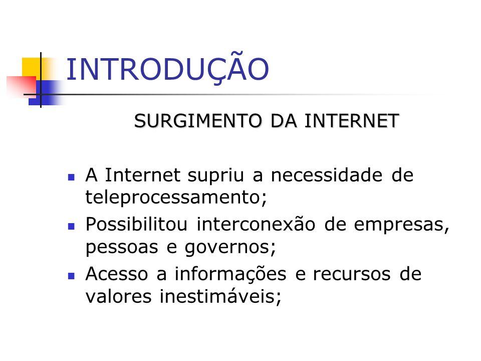 INTRODUÇÃO SURGIMENTO DA INTERNET A Internet supriu a necessidade de teleprocessamento; Possibilitou interconexão de empresas, pessoas e governos; Ace