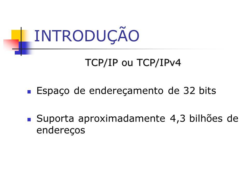 INTRODUÇÃO TCP/IP ou TCP/IPv4 Espaço de endereçamento de 32 bits Suporta aproximadamente 4,3 bilhões de endereços