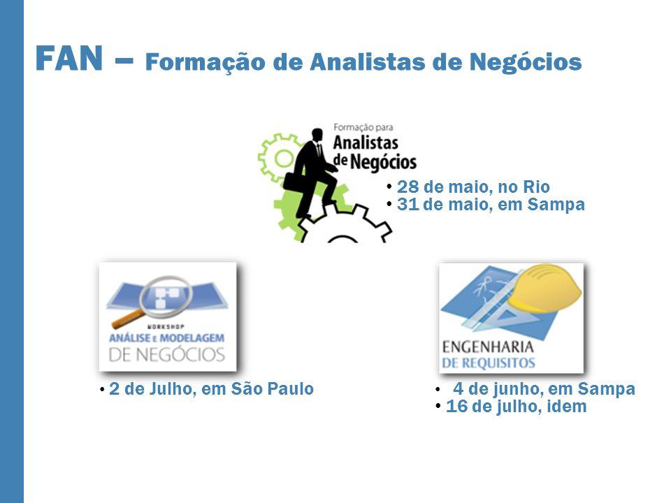 FAN – Formação de Analistas de Negócios 2 de Julho, em São Paulo 4 de junho, em Sampa 16 de julho, idem 28 de maio, no Rio 31 de maio, em Sampa