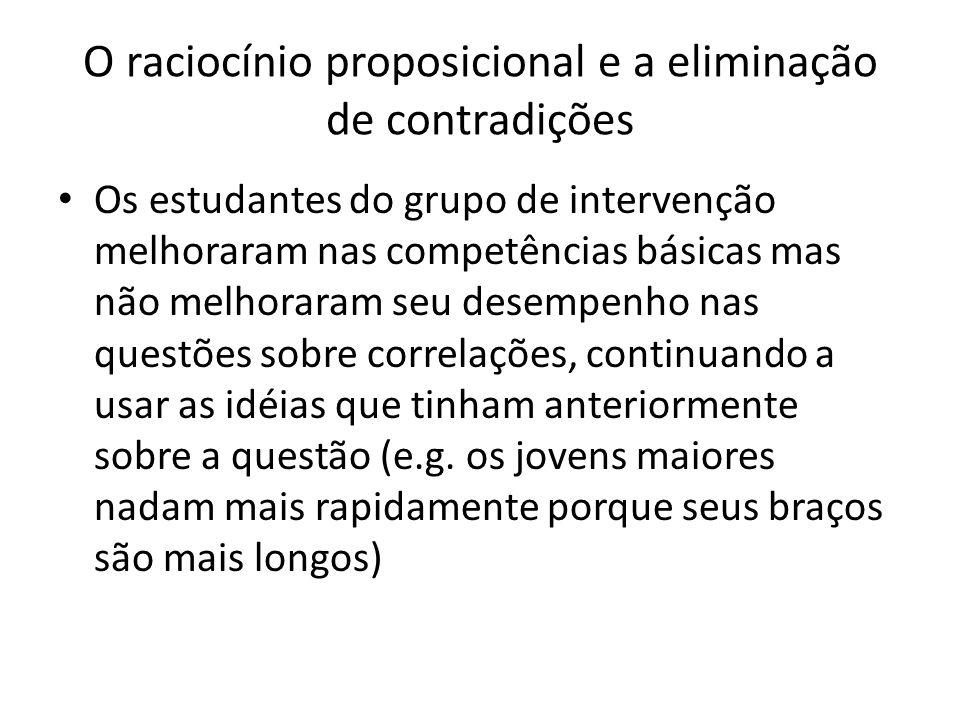 O raciocínio proposicional e a eliminação de contradições Os estudantes do grupo de intervenção melhoraram nas competências básicas mas não melhoraram seu desempenho nas questões sobre correlações, continuando a usar as idéias que tinham anteriormente sobre a questão (e.g.