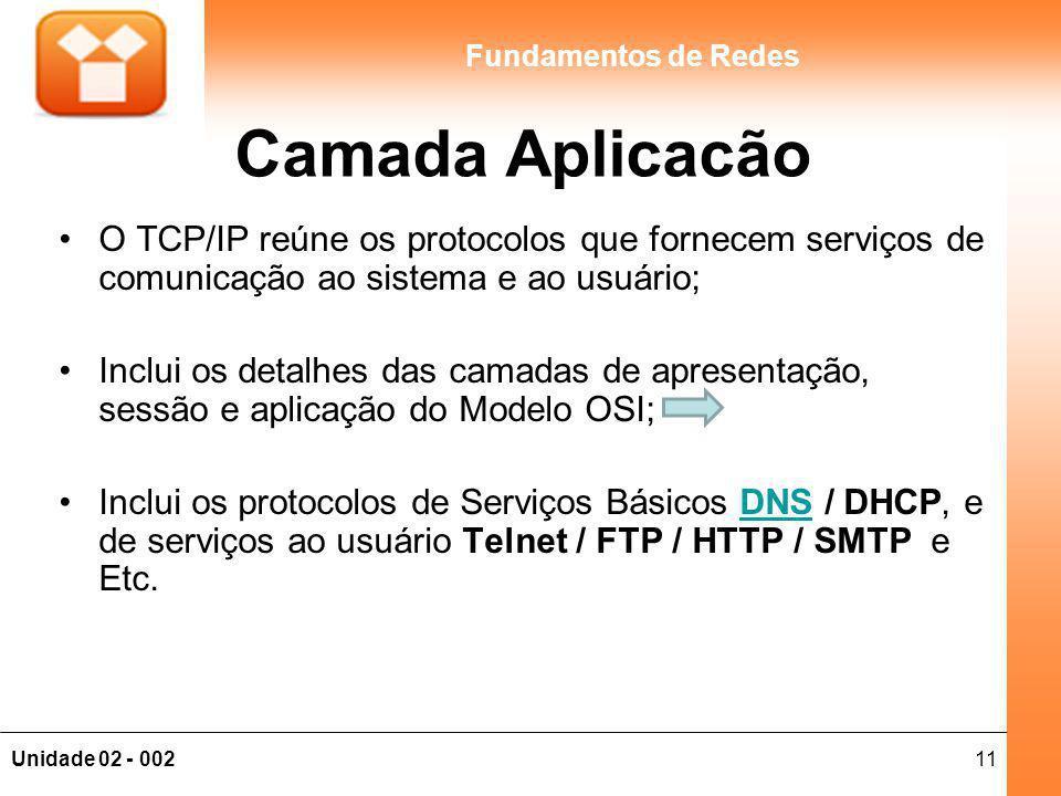 11Unidade 02 - 002 Fundamentos de Redes Camada Aplicacão O TCP/IP reúne os protocolos que fornecem serviços de comunicação ao sistema e ao usuário; Inclui os detalhes das camadas de apresentação, sessão e aplicação do Modelo OSI; Inclui os protocolos de Serviços Básicos DNS / DHCP, e de serviços ao usuário Telnet / FTP / HTTP / SMTP e Etc.DNS