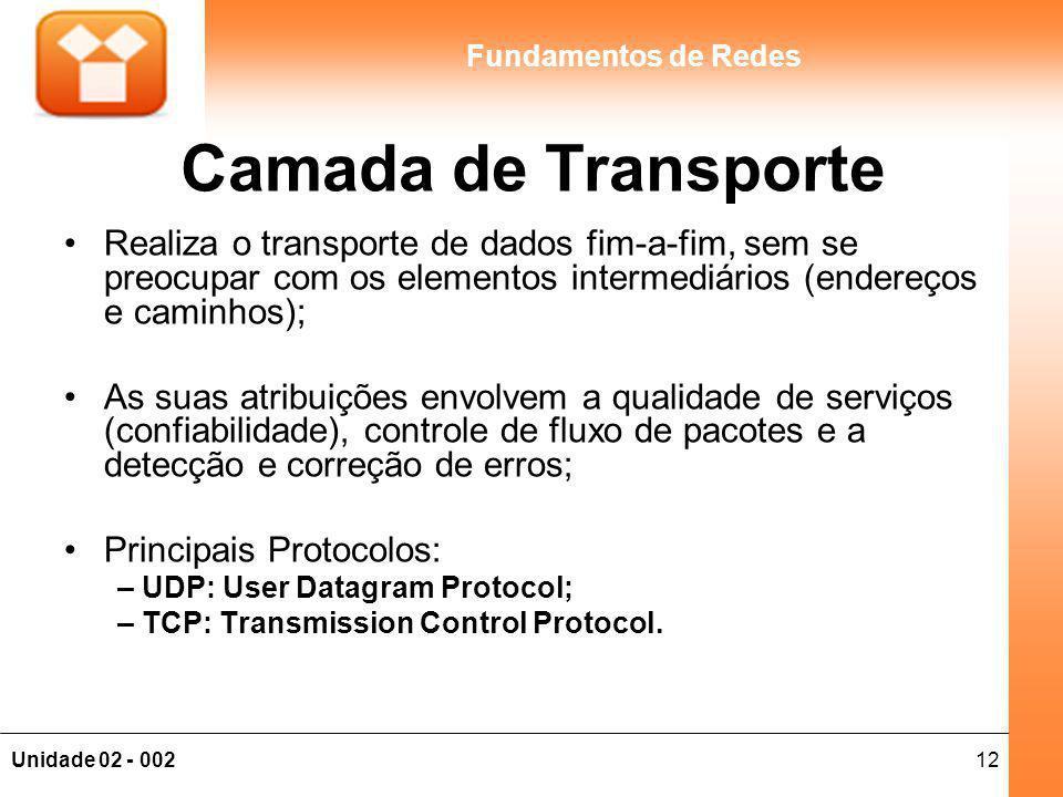 12Unidade 02 - 002 Fundamentos de Redes Camada de Transporte Realiza o transporte de dados fim-a-fim, sem se preocupar com os elementos intermediários (endereços e caminhos); As suas atribuições envolvem a qualidade de serviços (confiabilidade), controle de fluxo de pacotes e a detecção e correção de erros; Principais Protocolos: – UDP: User Datagram Protocol; – TCP: Transmission Control Protocol.