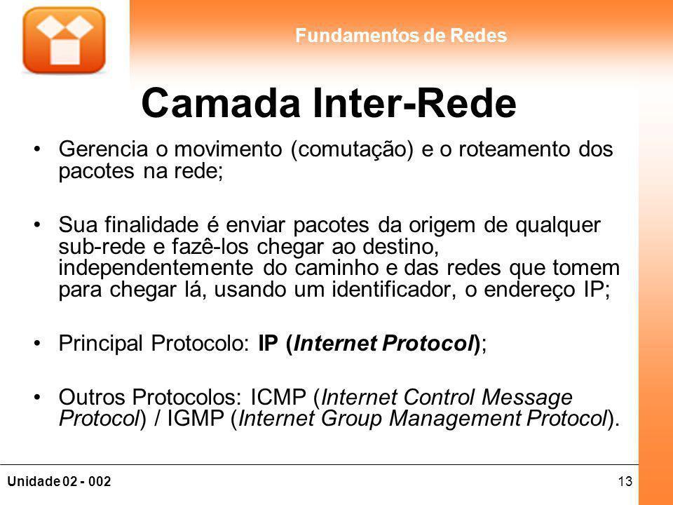 13Unidade 02 - 002 Fundamentos de Redes Camada Inter-Rede Gerencia o movimento (comutação) e o roteamento dos pacotes na rede; Sua finalidade é enviar pacotes da origem de qualquer sub-rede e fazê-los chegar ao destino, independentemente do caminho e das redes que tomem para chegar lá, usando um identificador, o endereço IP; Principal Protocolo: IP (Internet Protocol); Outros Protocolos: ICMP (Internet Control Message Protocol) / IGMP (Internet Group Management Protocol).