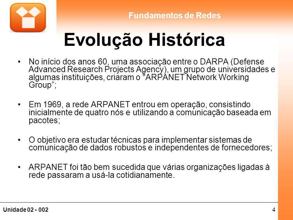 4Unidade 02 - 002 Fundamentos de Redes Evolução Histórica No início dos anos 60, uma associação entre o DARPA (Defense Advanced Research Projects Agency), um grupo de universidades e algumas instituições, criaram o ARPANET Network Working Group; Em 1969, a rede ARPANET entrou em operação, consistindo inicialmente de quatro nós e utilizando a comunicação baseada em pacotes; O objetivo era estudar técnicas para implementar sistemas de comunicação de dados robustos e independentes de fornecedores; ARPANET foi tão bem sucedida que várias organizações ligadas à rede passaram a usá-la cotidianamente.