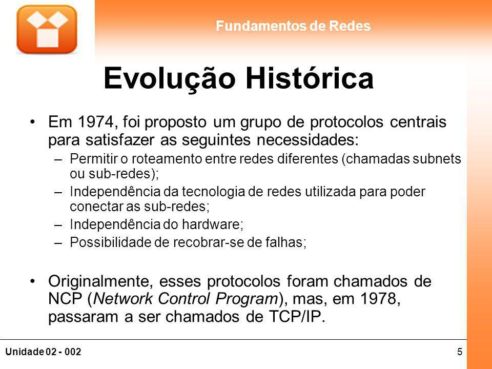 5Unidade 02 - 002 Fundamentos de Redes Evolução Histórica Em 1974, foi proposto um grupo de protocolos centrais para satisfazer as seguintes necessida