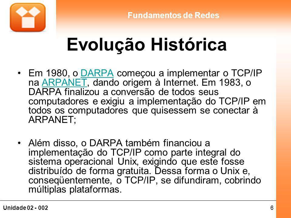 6Unidade 02 - 002 Fundamentos de Redes Evolução Histórica Em 1980, o DARPA começou a implementar o TCP/IP na ARPANET, dando origem à Internet. Em 1983