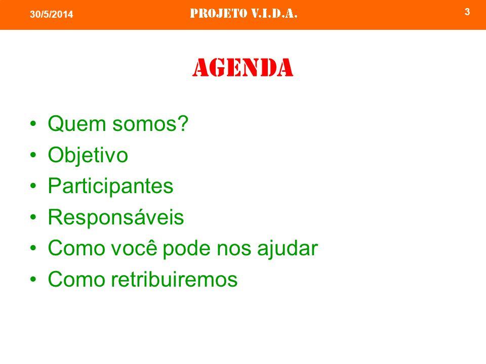 3 30/5/2014 Agenda Quem somos? Objetivo Participantes Responsáveis Como você pode nos ajudar Como retribuiremos