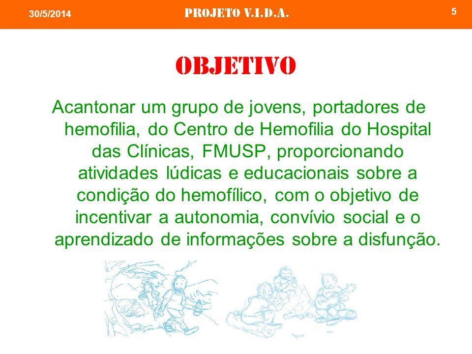 5 30/5/2014 Objetivo Acantonar um grupo de jovens, portadores de hemofilia, do Centro de Hemofilia do Hospital das Clínicas, FMUSP, proporcionando ati