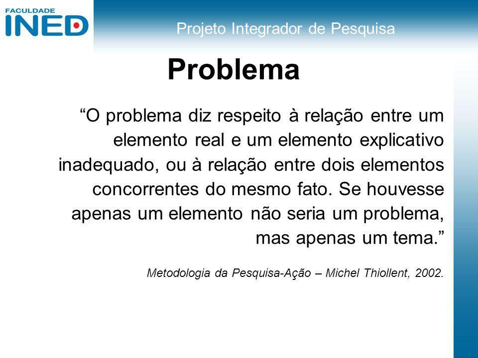 Projeto Integrador de Pesquisa Problema O problema diz respeito à relação entre um elemento real e um elemento explicativo inadequado, ou à relação en