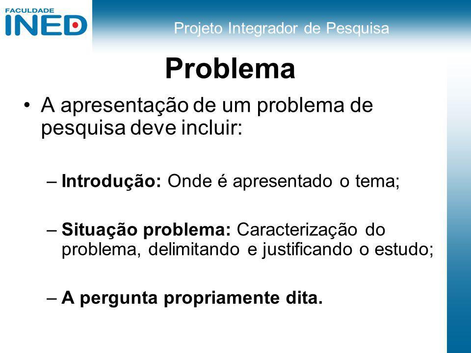 Projeto Integrador de Pesquisa Problema A apresentação de um problema de pesquisa deve incluir: –Introdução: Onde é apresentado o tema; –Situação prob