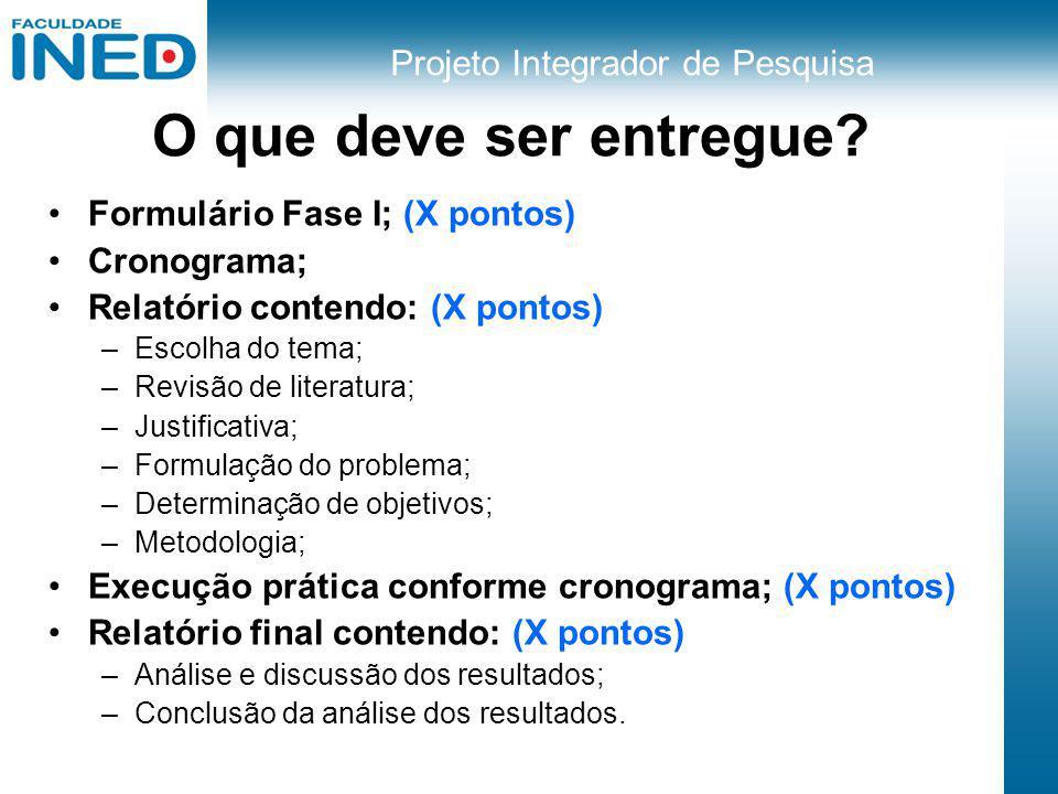 Projeto Integrador de Pesquisa O que deve ser entregue? Formulário Fase I; (X pontos) Cronograma; Relatório contendo: (X pontos) –Escolha do tema; –Re