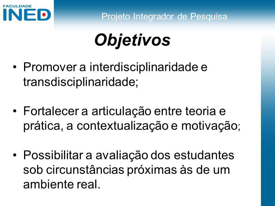 Projeto Integrador de Pesquisa Objetivos Promover a interdisciplinaridade e transdisciplinaridade; Fortalecer a articulação entre teoria e prática, a