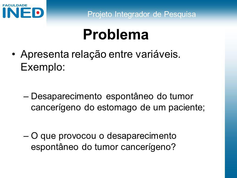 Projeto Integrador de Pesquisa Problema Apresenta relação entre variáveis. Exemplo: –Desaparecimento espontâneo do tumor cancerígeno do estomago de um