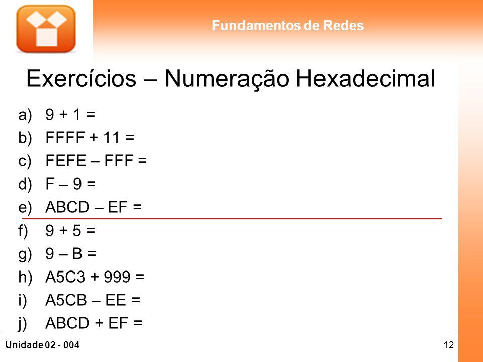 12Unidade 02 - 004 Fundamentos de Redes Exercícios – Numeração Hexadecimal a)9 + 1 = b)FFFF + 11 = c)FEFE – FFF = d)F – 9 = e)ABCD – EF = f)9 + 5 = g)