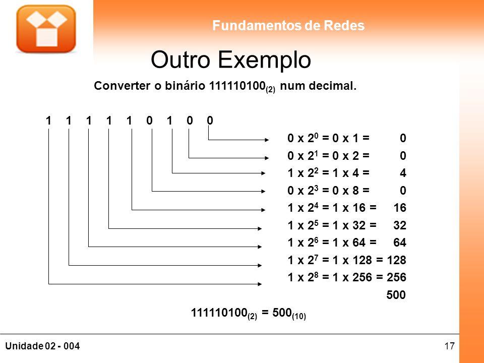 17Unidade 02 - 004 Fundamentos de Redes Outro Exemplo Converter o binário 111110100 (2) num decimal. 1 1 1 1 1 0 1 0 0 0 x 2 0 = 0 x 1 = 0 0 x 2 1 = 0