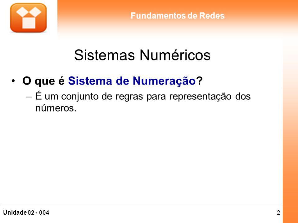 2Unidade 02 - 004 Fundamentos de Redes Sistemas Numéricos O que é Sistema de Numeração? –É um conjunto de regras para representação dos números.