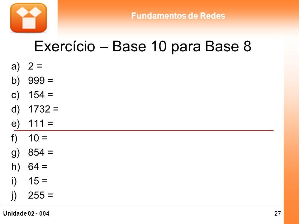 27Unidade 02 - 004 Fundamentos de Redes Exercício – Base 10 para Base 8 a)2 = b)999 = c)154 = d)1732 = e)111 = f)10 = g)854 = h)64 = i)15 = j)255 =