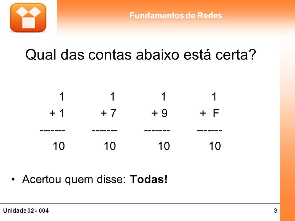 3Unidade 02 - 004 Fundamentos de Redes Qual das contas abaixo está certa? 1 1 1 1 + 1 + 7 + 9 + F ------- ------- ------- ------- 10 10 10 10 Acertou