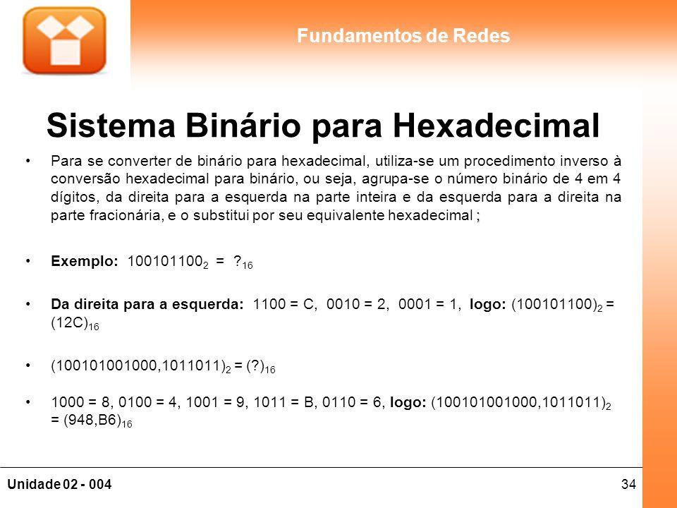 34Unidade 02 - 004 Fundamentos de Redes Sistema Binário para Hexadecimal ;Para se converter de binário para hexadecimal, utiliza-se um procedimento in