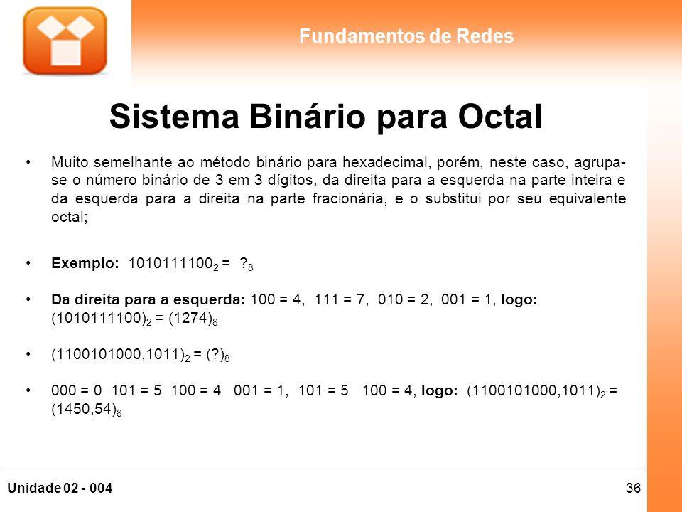 36Unidade 02 - 004 Fundamentos de Redes Sistema Binário para Octal ;Muito semelhante ao método binário para hexadecimal, porém, neste caso, agrupa- se