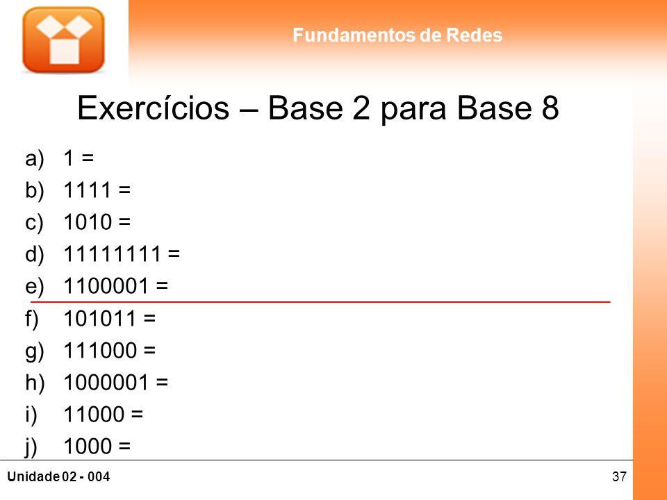 37Unidade 02 - 004 Fundamentos de Redes Exercícios – Base 2 para Base 8 a)1 = b)1111 = c)1010 = d)11111111 = e)1100001 = f)101011 = g)111000 = h)10000
