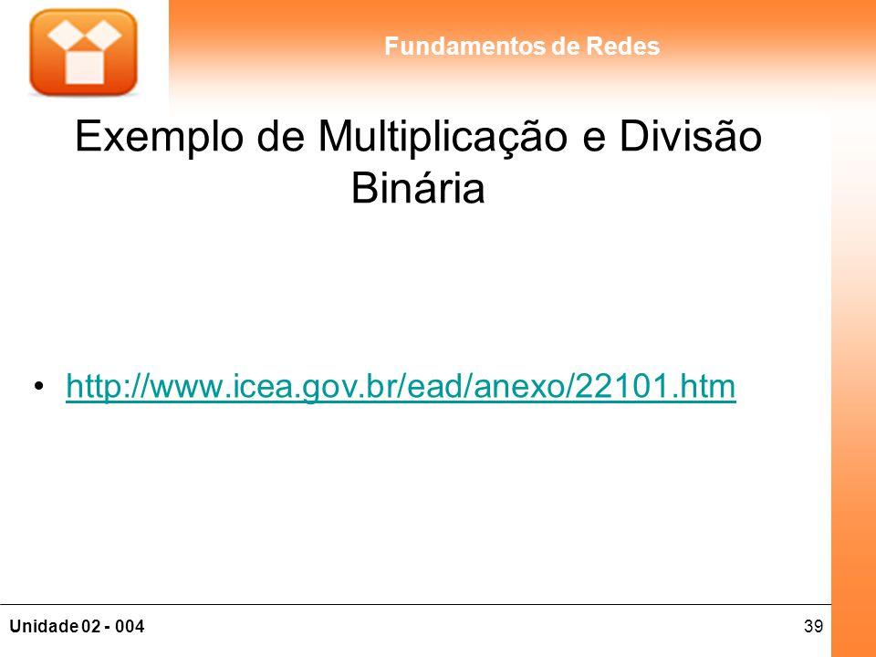 39Unidade 02 - 004 Fundamentos de Redes Exemplo de Multiplicação e Divisão Binária http://www.icea.gov.br/ead/anexo/22101.htm