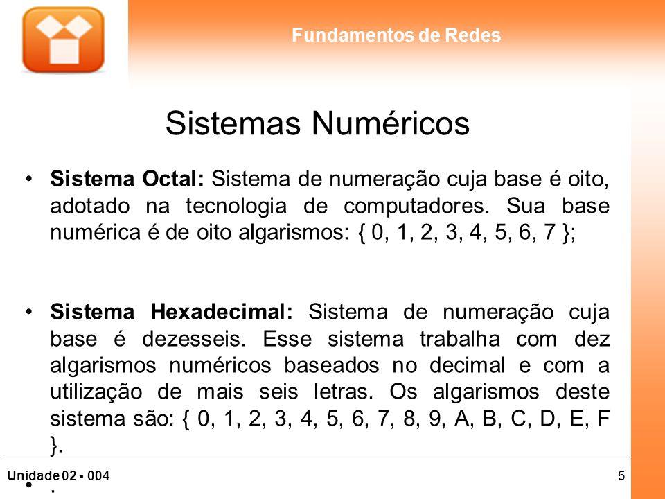 16Unidade 02 - 004 Fundamentos de Redes Aplicação da Fórmula Exemplo: 01100001 (2) 1 x 2 0 = 1 x 1 = 1 0 x 2 1 = 0 x 2 = 0 0 x 2 2 = 0 x 4 = 0 0 x 2 3 = 0 x 8 = 0 0 x 2 4 = 0 x 16 = 0 1 x 2 5 = 1 x 32 = 32 1 x 2 6 = 1 x 64 = 64 0 x 2 7 = 0 x 128 = 0 Em que: 1 + 32 + 64 = 97 (10).