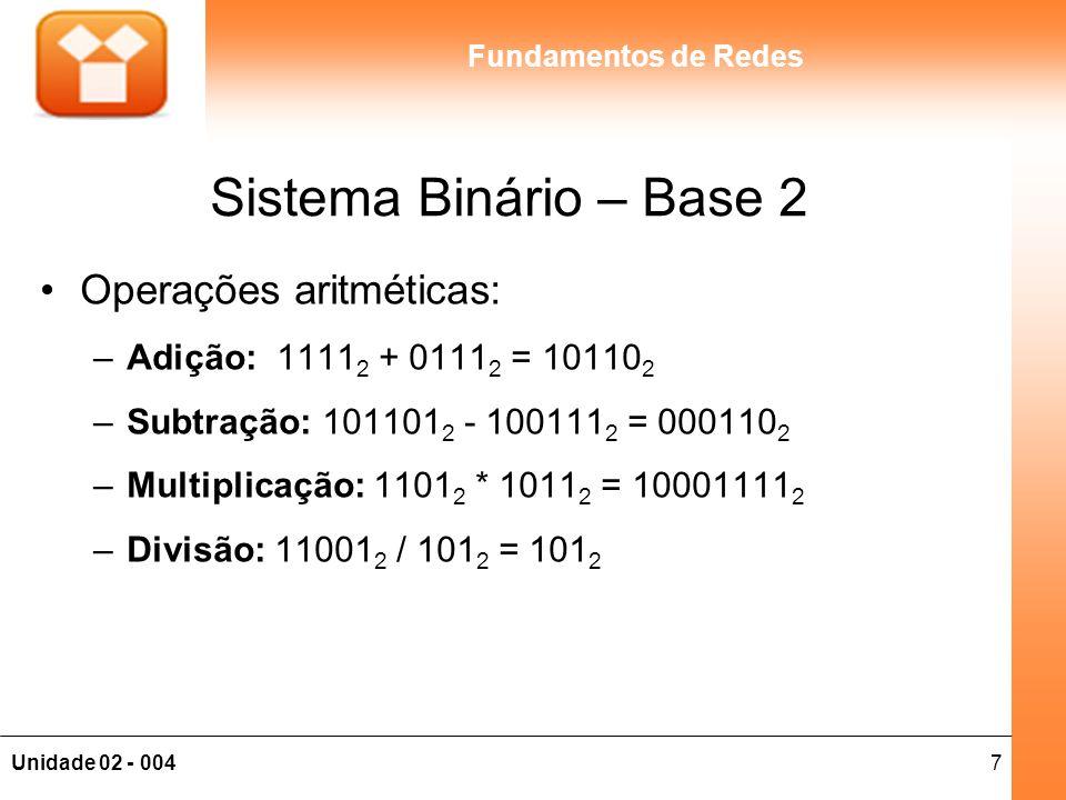 7Unidade 02 - 004 Fundamentos de Redes Sistema Binário – Base 2 Operações aritméticas: –Adição: 1111 2 + 0111 2 = 10110 2 –Subtração: 101101 2 - 10011