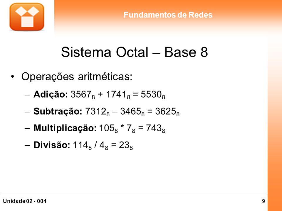 9Unidade 02 - 004 Fundamentos de Redes Sistema Octal – Base 8 Operações aritméticas: –Adição: 3567 8 + 1741 8 = 5530 8 –Subtração: 7312 8 – 3465 8 = 3