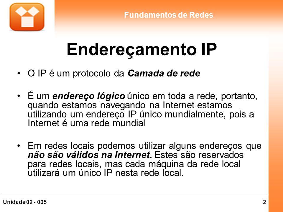 3Unidade 02 - 005 Fundamentos de Redes Endereços Lógicos, Físicos e de Serviço Serviço: Atribuído na camada de Transporte (TCP) e refere-se a uma aplicação que está sendo transportada (porta); Lógico: Atribuído na camada de rede (IP) e indica a origem e destino do serviço, independente do serviço que está sendo transportado; Físico: Atribuído na camada enlace (MAC), e indica o próximo host da rede onde o pacote será entregue.