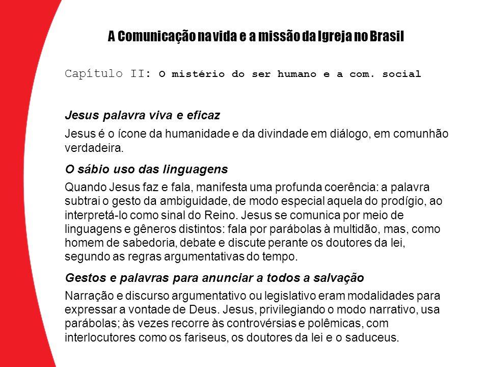Jesus palavra viva e eficaz Jesus é o ícone da humanidade e da divindade em diálogo, em comunhão verdadeira. O sábio uso das linguagens Quando Jesus f