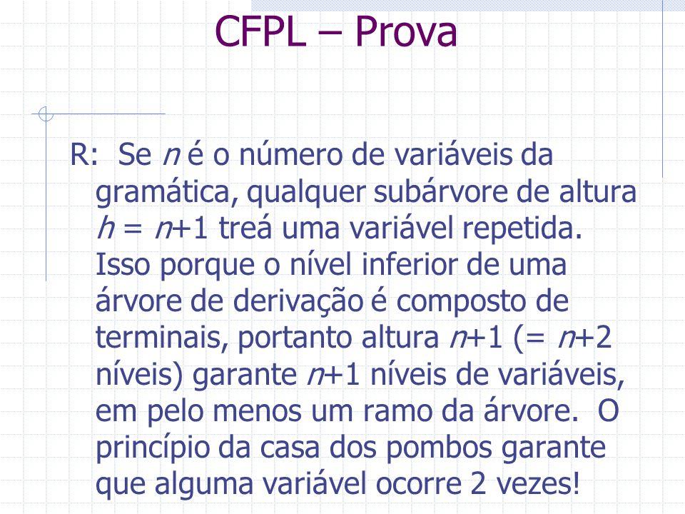 CFPL – Prova R: Se n é o número de variáveis da gramática, qualquer subárvore de altura h = n+1 treá uma variável repetida. Isso porque o nível inferi
