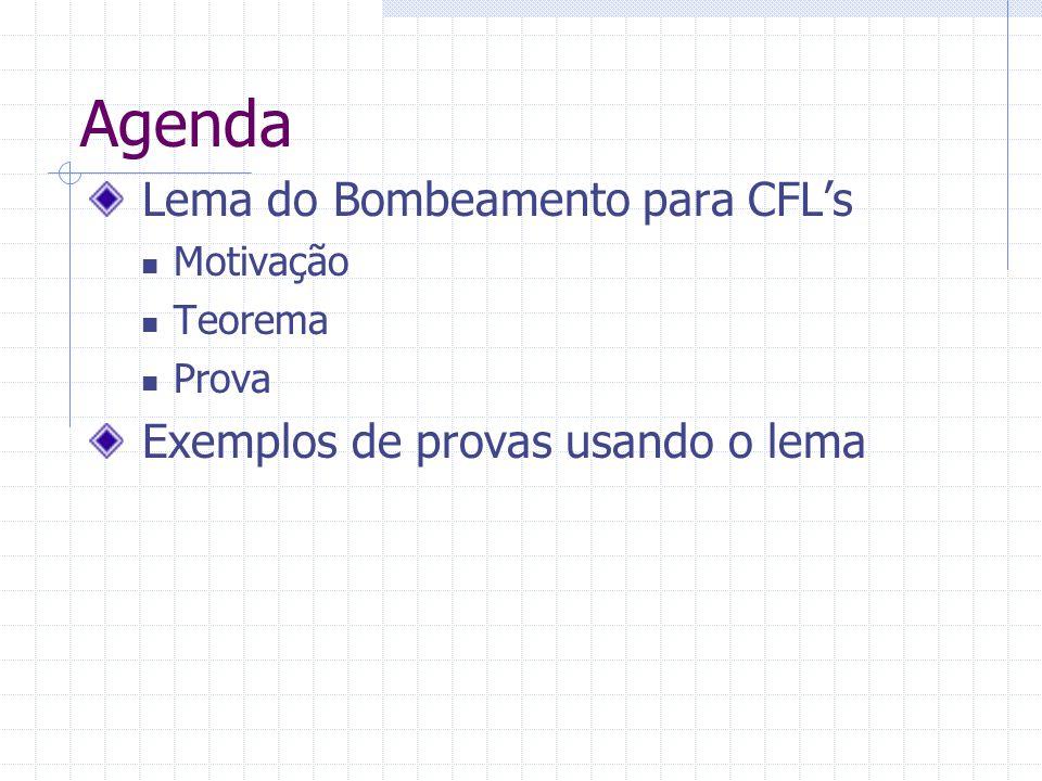 Agenda Lema do Bombeamento para CFLs Motivação Teorema Prova Exemplos de provas usando o lema