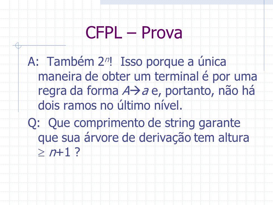 CFPL – Prova A: Também 2 n ! Isso porque a única maneira de obter um terminal é por uma regra da forma A a e, portanto, não há dois ramos no último ní