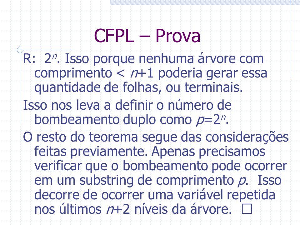 CFPL – Prova R: 2 n. Isso porque nenhuma árvore com comprimento < n+1 poderia gerar essa quantidade de folhas, ou terminais. Isso nos leva a definir o