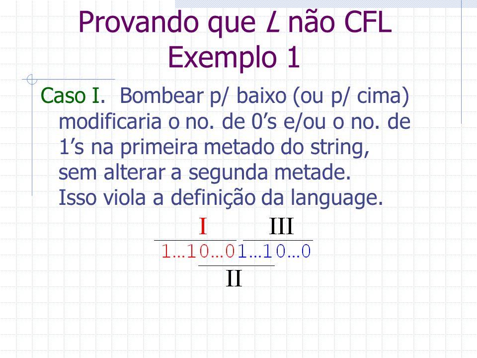 Provando que L não CFL Exemplo 1 Caso I. Bombear p/ baixo (ou p/ cima) modificaria o no. de 0s e/ou o no. de 1s na primeira metado do string, sem alte