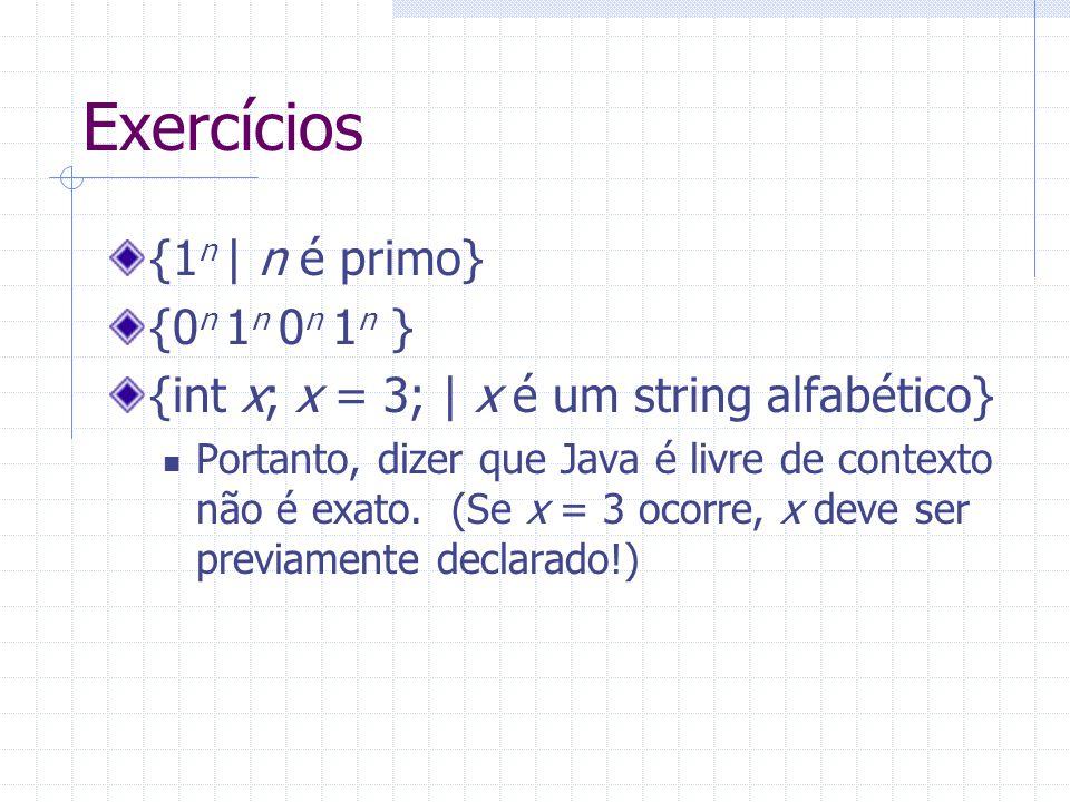 Exercícios {1 n   n é primo} {0 n 1 n 0 n 1 n } {int x; x = 3;   x é um string alfabético} Portanto, dizer que Java é livre de contexto não é exato. (