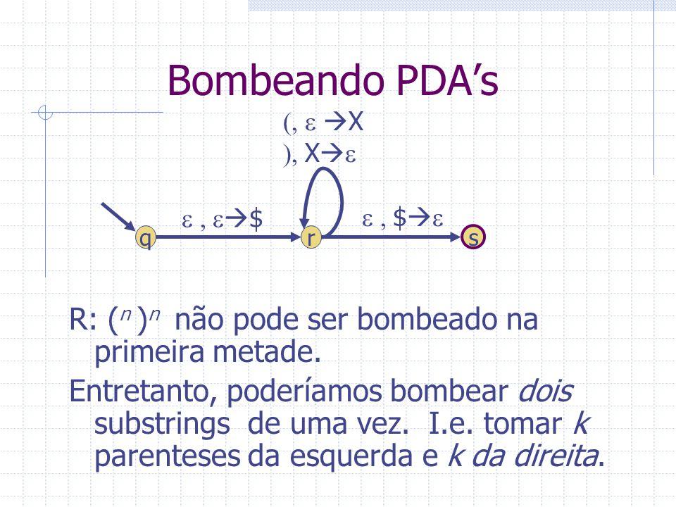 Bombeando PDAs R: ( n ) n não pode ser bombeado na primeira metade. Entretanto, poderíamos bombear dois substrings de uma vez. I.e. tomar k parenteses