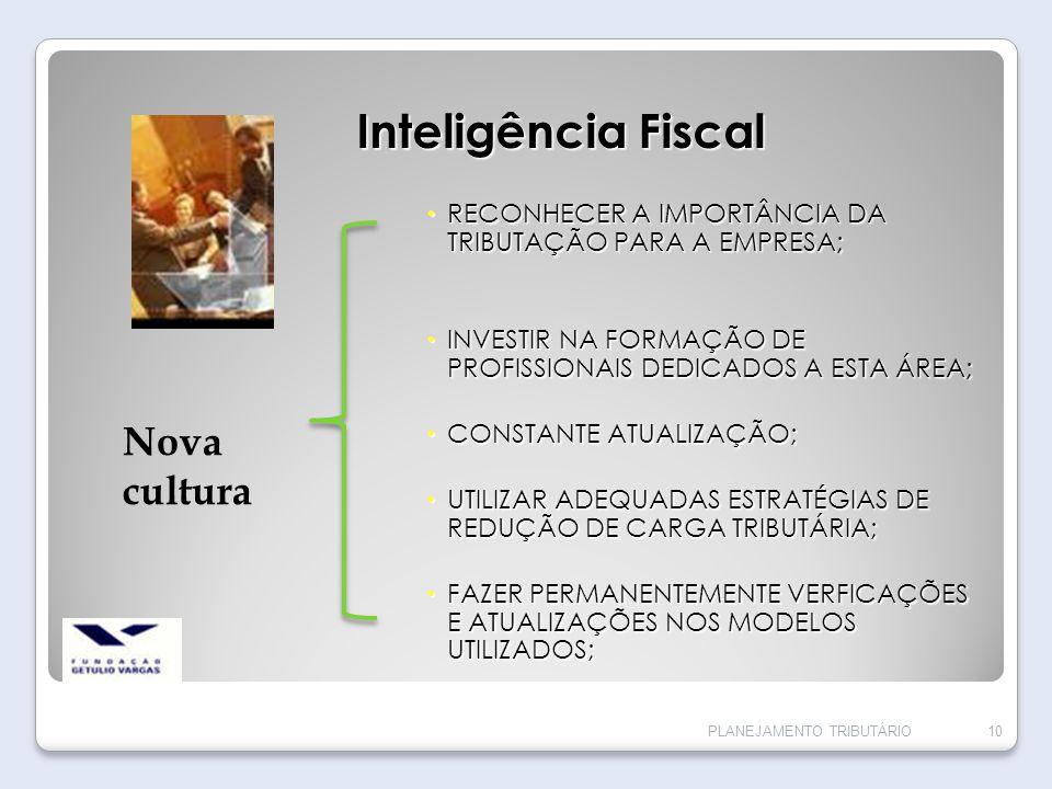 Inteligência Fiscal RECONHECER A IMPORTÂNCIA DA TRIBUTAÇÃO PARA A EMPRESA; RECONHECER A IMPORTÂNCIA DA TRIBUTAÇÃO PARA A EMPRESA; INVESTIR NA FORMAÇÃO